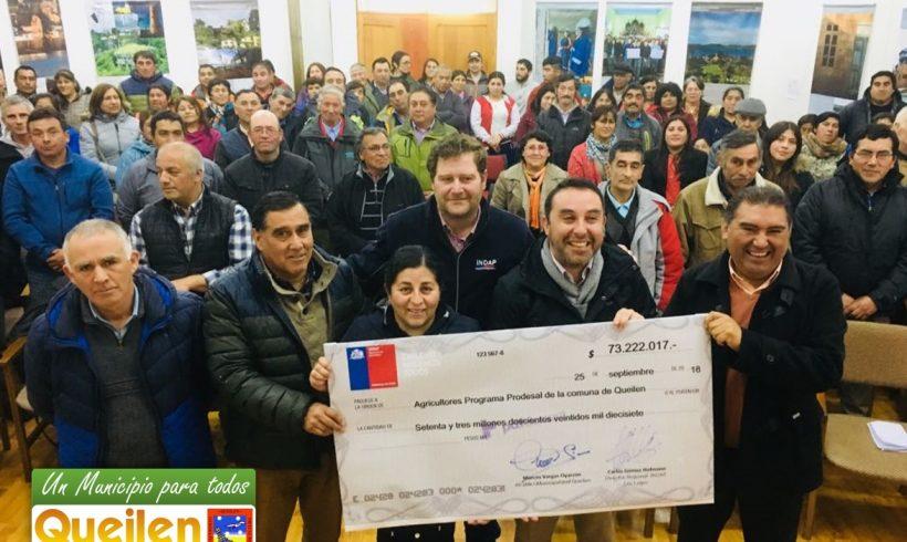 Municipalidad de Queilen e Indap entregaron 73 millones de pesos a los agricultores de la comuna