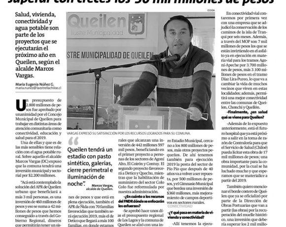 """""""LA INVERSIÓN PÚBLICA PARA NUESTRA COMUNA VA A SUPERAR CON CRECES LOS 30 MIL MILLONES DE PESOS"""""""