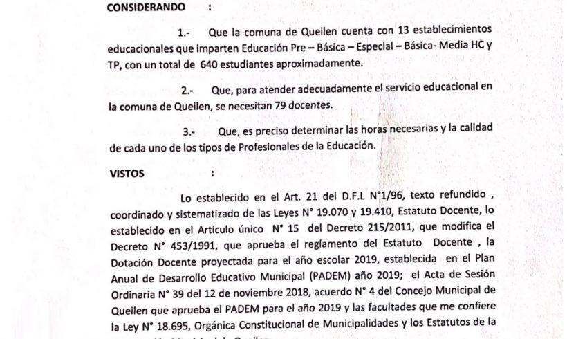 RESOLUCION N°:18 DOTACION DOCENTE EN ESTABLECIMIENTOS EDUCACIONALES DE LA COMUNA DE QUEILEN PARA AÑO 2019